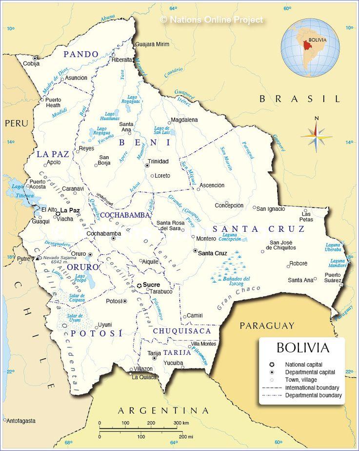 This map shows all the major cities of Bolivia: La Paz, Sucre, Trinidad, Santa Cruz, Cochabamba, etc.