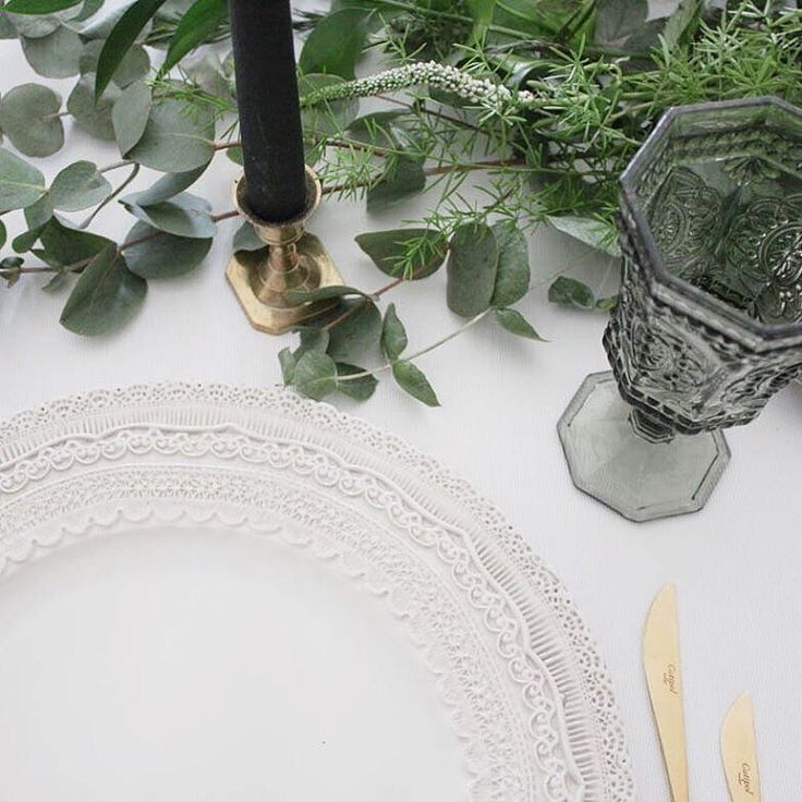 I N V E N T O R Y // our lace edged plates look divine with just about anything but particularly loving this combination of gold cutlery, smokey glasses ➕ antique candlesticks topped off with decadent black candles..... Oh and that green runner is the perfect centrepiece