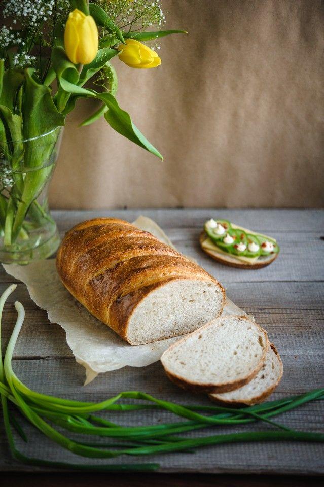 Рецепт - Батон сливочный на пшеничной закваске
