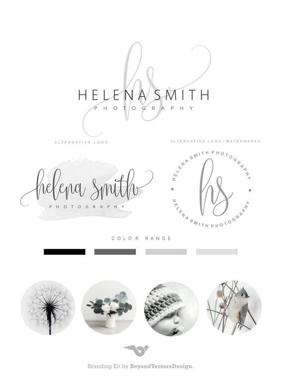 Premade Branding Kit – Photography Logo Set- Watermark – Handwritten initials – Elegant Signature – Stamp Logo – Logo Design Package 87
