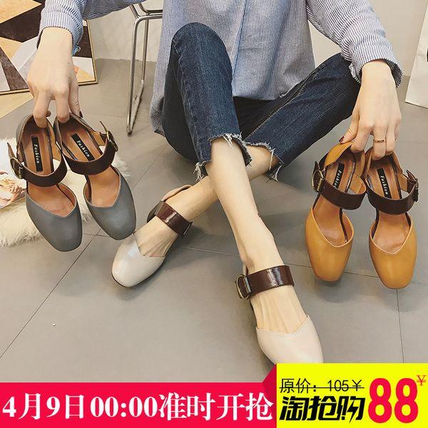 Мэри Джейн обувь женская обувь ретро туфли на высоком каблуке Баотоу корейской версии нового дикого шероховатой с одного ботинка пятки сандалии женщин летом