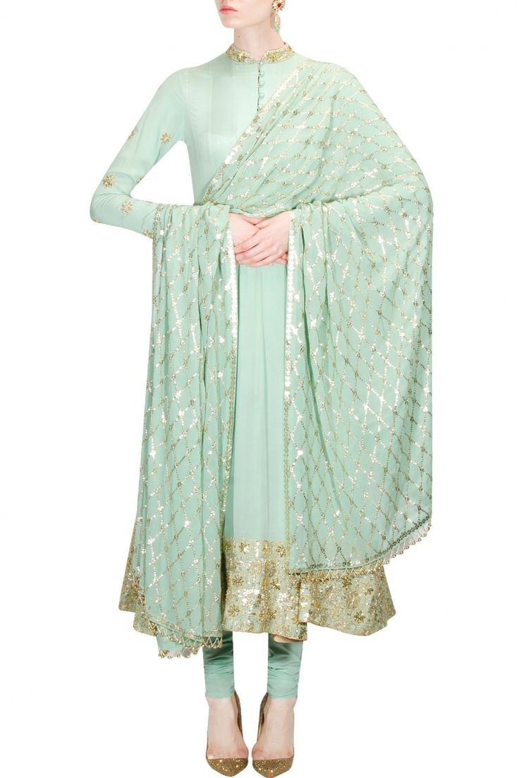 Mint green floral sequins embellished anarkali kurta set available only at Pernia's Pop Up Shop.