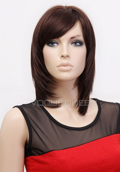 one side hair styles capless shoulder length side kanekalon wig 6700