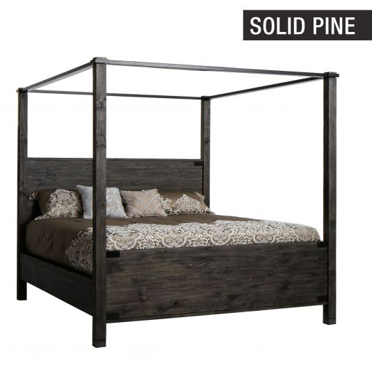 Abington Weathered Charcoal Eastern King Canopy Bed In 2019