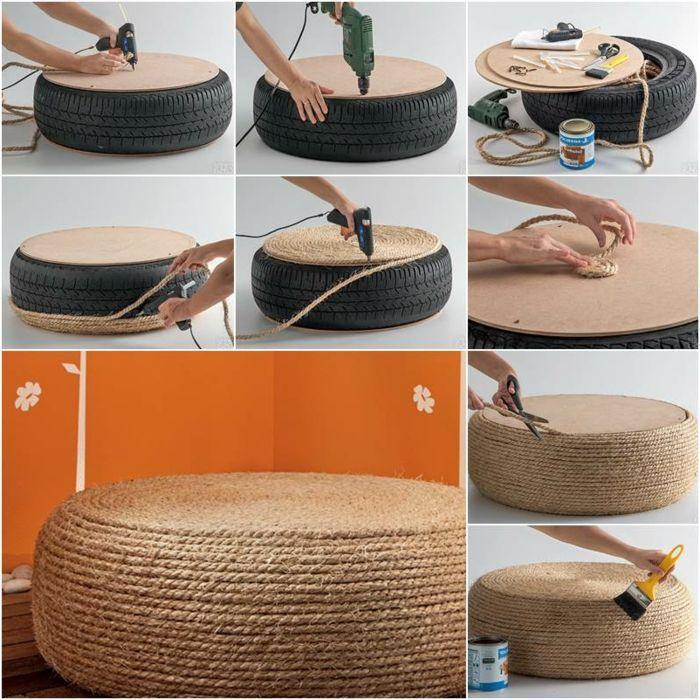 les 25 meilleures id es de la cat gorie pouf pneu sur pinterest si ges de pneus artisanat du. Black Bedroom Furniture Sets. Home Design Ideas