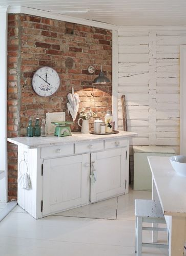 ,: Dining Rooms, Idea, Fashion Vintage, Expo Brick Wall, Landscape Photography, Exposed Brick, Shabby Vintage, White Furniture, White Brick