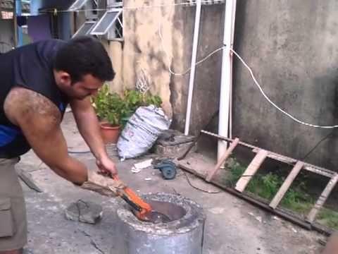 TUTORIAL: Peça em alumínio fundido com molde de isopor - YouTube