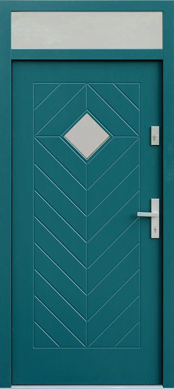 Drzwi z naświetlem górnym wzór 543,1 w kolorze zielone.