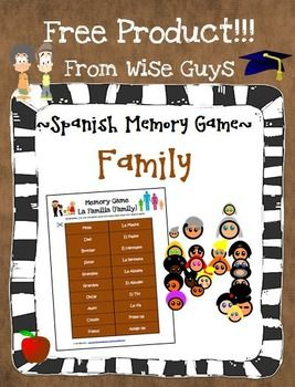 Spanish Family Memory Activity Game: La FamiliaThis 1-page English to Spanish Family (la familia) memory activity game will help teach your students how to pronounce 10 different members of the family in Spanish. Students simply cut out the game pieces, separating the English from the Spanish and flip them face down on the floor.