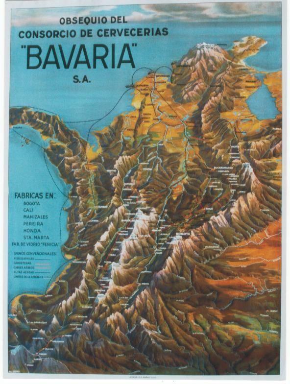 Original vintage poster COLOMBIA AIR VIEW BAVARIA BEER