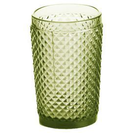 Serve sangria and cucumber water at your next soiree with this eye-catching highball glass, showcasing a quilted texture.   Product: Set of 4 highball glassesConstruction Material: GlassColor: OliveFeatures: Quilted texture10 Ounce capacity Cleaning and Care: Hand washing recommended