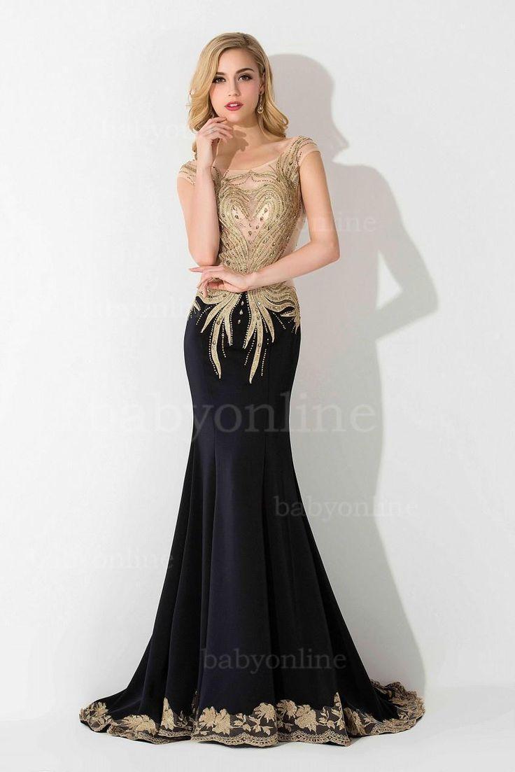 Prom dress new arrival 2016 mermaid pageant dress emerald green - 2016 New Tarik Ediz Cap Sleeves Mermaid Pageant Dresses Sexy Crystal Backless Spandex Black Evening Gowns