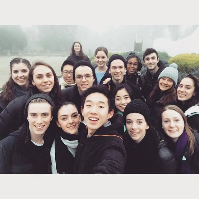 The Dancers Compeny with students of The Australian Ballet School taking a selfie in Albury. Photography Yipeng Xu