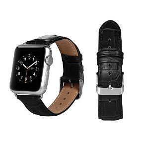 Cowhide Genuine Leather Strap  Replacement with metal clasp for Apple Watch. 38mm&42mm Black&Brown