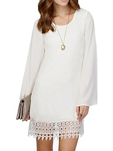 Allbebe Womens Summer Sexy Long Sleeves Chiffon Lace Nightclub Dress L White -- Click image to review more details.