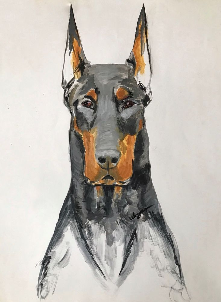 Original Acrylic Painting Of Doberman Dog Made On Paper X28