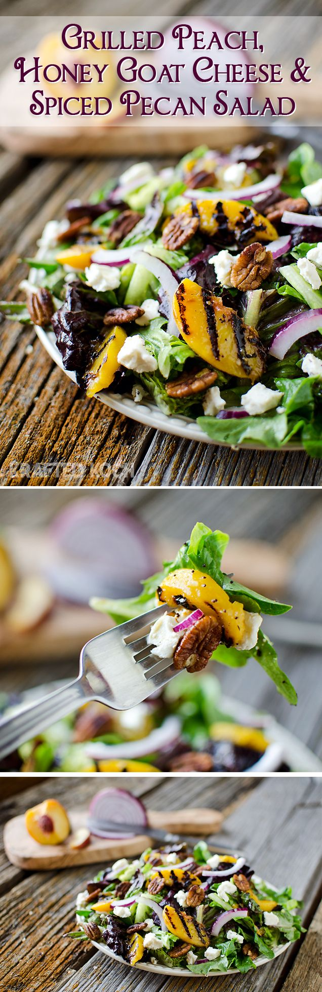 Grilled Peach, Honey Goat Cheese & Spiced Pecan Salad -