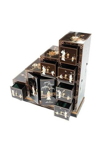 Black Lacquered With Mother Of Pearl Step Cabinet Oriental Furniture Chinese   eBay