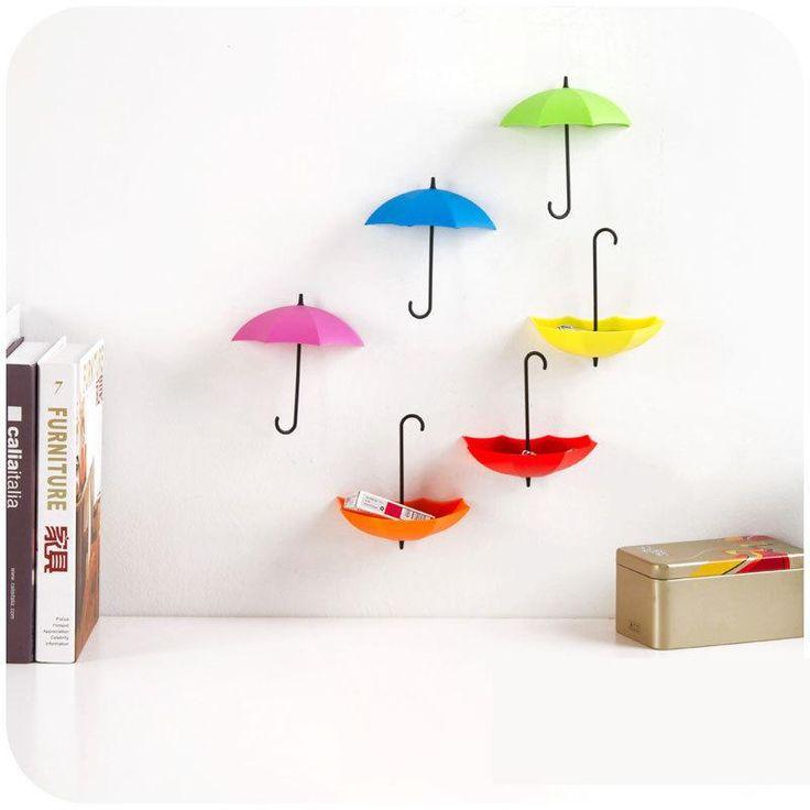 3 قطعة/الوحدة الإبداعية مظلة شكل مفتاح حامل شماعات الجدار الرف اكسسوارات المطبخ الرف تخزين المنزل منظم