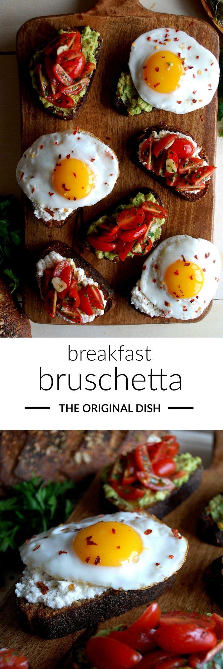 breakfast bruschetta...whole grain toast topped with smashed avocado, creamy ricotta, garlicky tomatoes & perfectly fried eggs - http://www.theoriginaldish.com