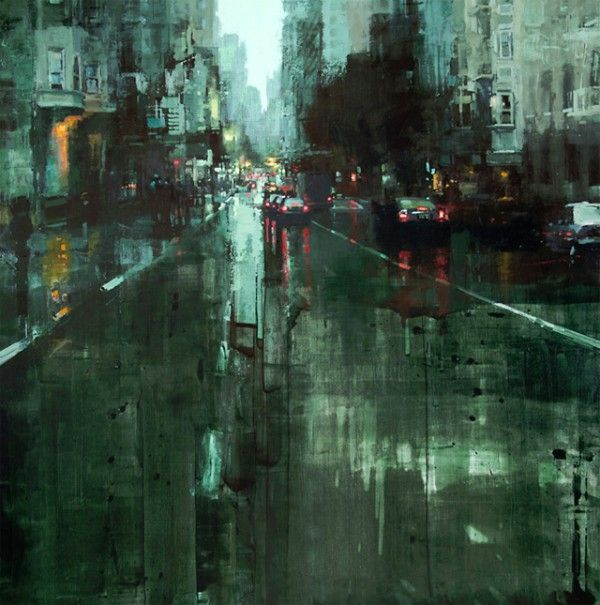 Cityscapes, oil paintings by Jeremy Mann - Evening in Green - Oil on Panel - 36 x 36 in. - The Principle Gallery (www.redrabbit7.com)