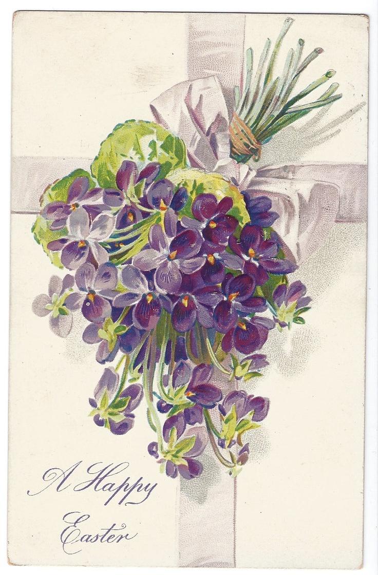 Raphael Tuck Violets Easter Postcard
