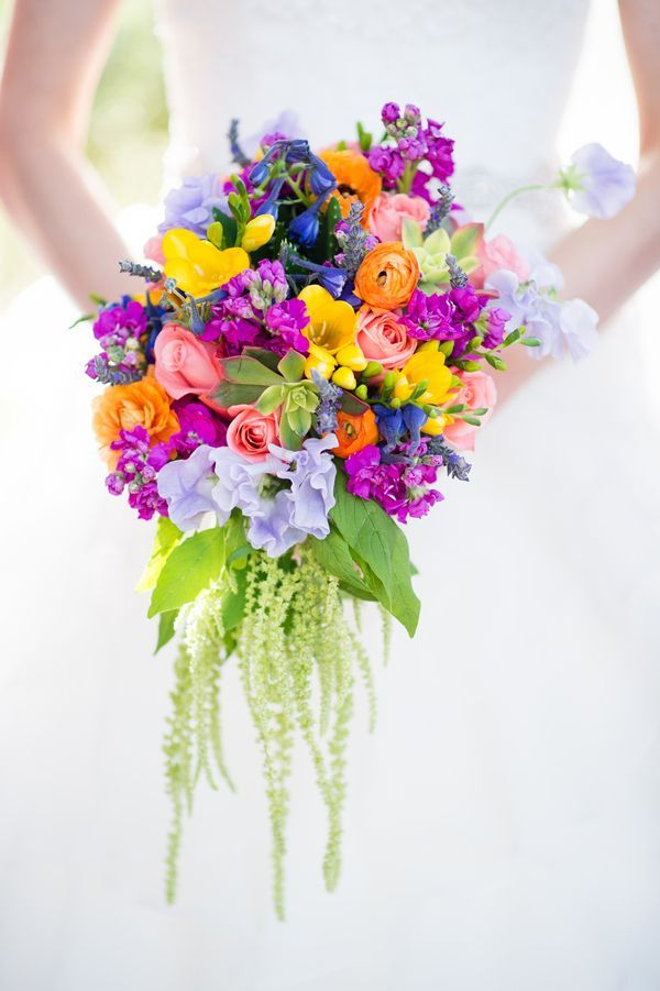 Colourful Chic Outdoor Spring Texas Wedding Bridal Cascading Bouquet Multi Coloured
