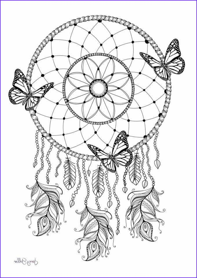 Dreamcatcher Butterfly Coloring Pages For Adults