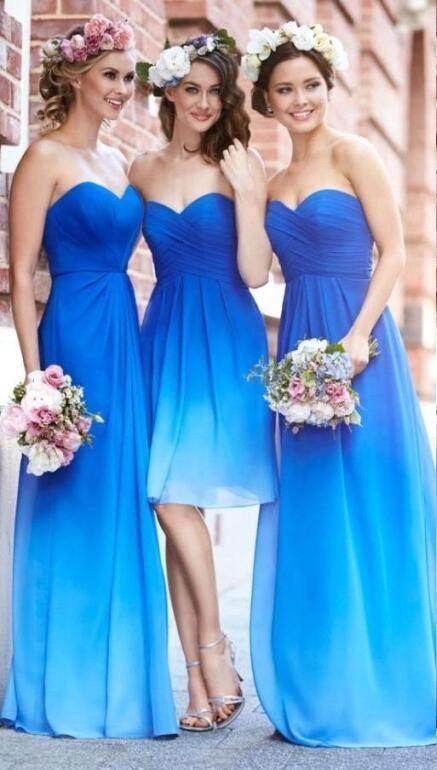 2016 New Fashion Gradient Color Bridesmaid Dresses Ocean Blue Sweetheart Pleats Chiffon A Line       Beach Wedding Party Dresses Prom Dresses