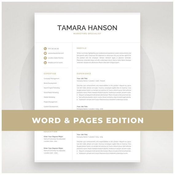 Professional Resume Template for Word & Pages | Modern Marketing ...