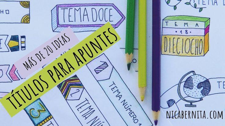 TÍTULOS BONITOS y FÁCILES para decorar apuntes 🤓 MÁS DE 20 IDEAS para decorar cuadernos