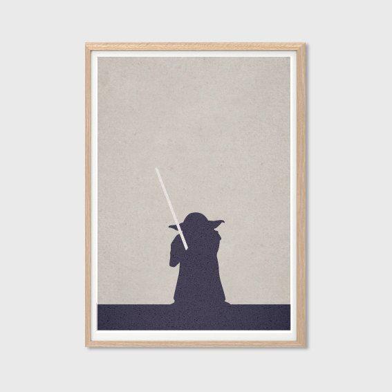 Art Retro Decor - Master Yoda : Modern Star Wars Movie Seventies Illustration Retro Art Wall Decor Print A4 8 x 11