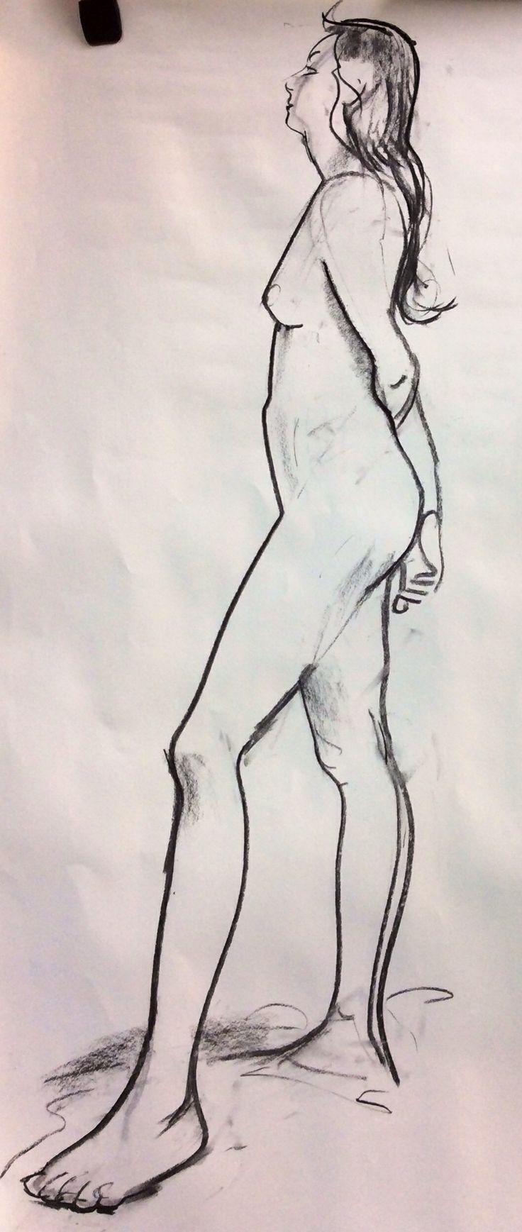 Geprobeerd heel direct te tekenen. Mijn kneedgum heb ik niet gebruikt.