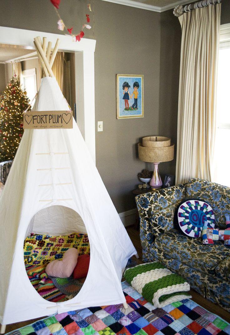 love.: Living Rooms, Kids Plays Rooms, Kids Stuff, Wall Color, Plays Tent, Diy Teepees, Paintings Color, Kids Rooms, 20 Diy