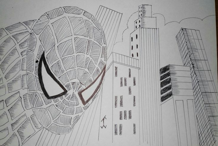 ComicSpiderman3 #city #comic #drawing #draw #pen #art #spiderman #movie #marvel #marvelcomic