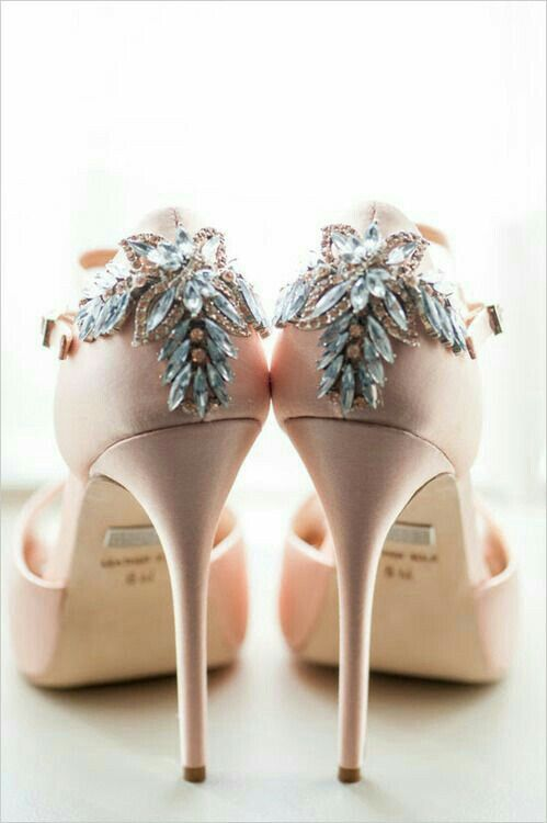 39979338c1a pale pink heels with rhinestone details