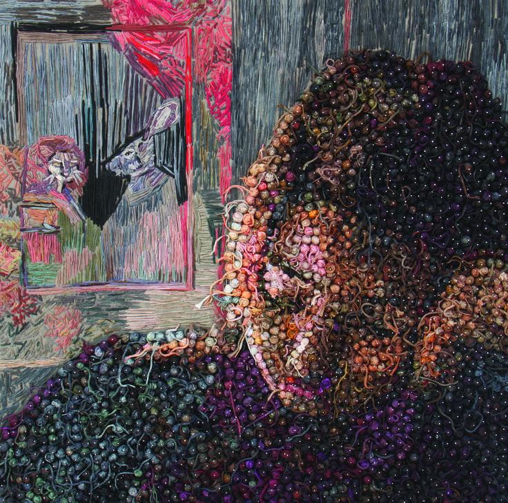 70 x70 cm thread on textile,2014