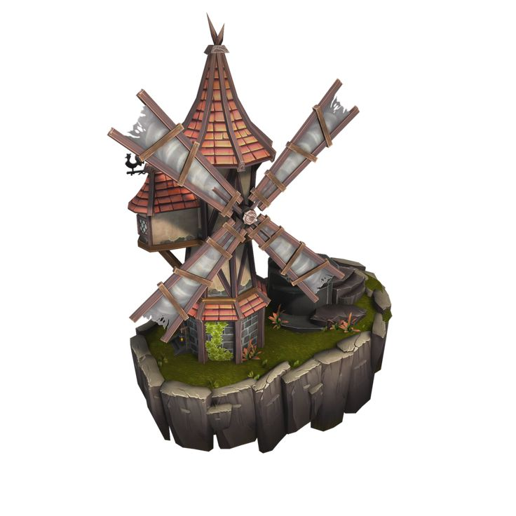 Windmill - Top Down Medieval City – Bitgem | Low Poly 3D ...