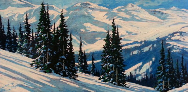 No Skiers by David Langevin - acrylic on canvas