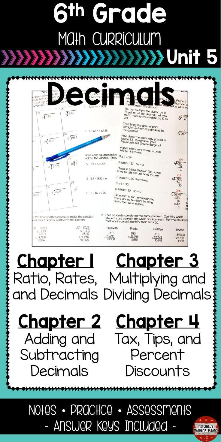 Decimals 6th Grade Math Unit Math Free Math Lessons Math Curriculum Solve addition equations with decimals