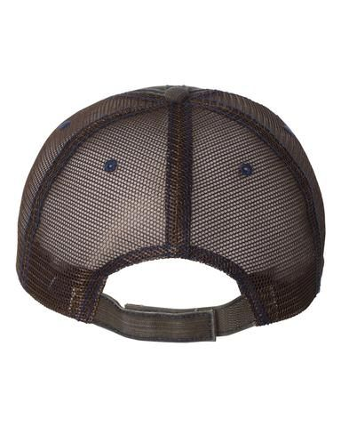 40d463d53f0 Brown Navy Herringbone Unstructured Trucker Hat