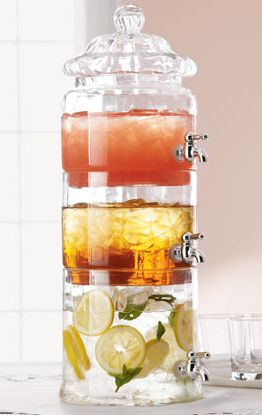 Clear beverage server has three separate sections for dispensing refreshments of choice - love these for showers!