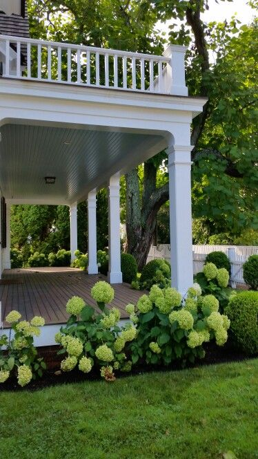 Love these porches and hydrangeas. Lower porch needs a swing!                                                                                                                                                                                 More