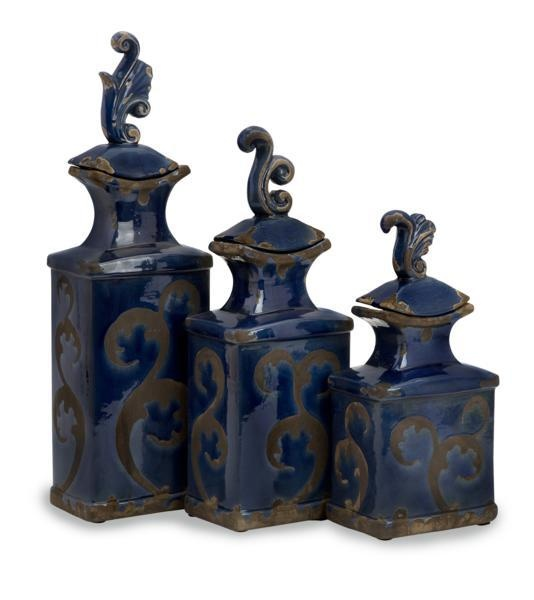 """Venus Bottles - This set of three Venus lidded bottled blend classic, transitional shape with technique to provide an appealing group of home accents. Material: 100% Ceramic. 10-12.5-15.5""""h x 4.25""""w x 3.5""""."""