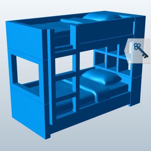 Bunkbed dollhouse furniture meshmixer 3d printing for Furniture 3d printing