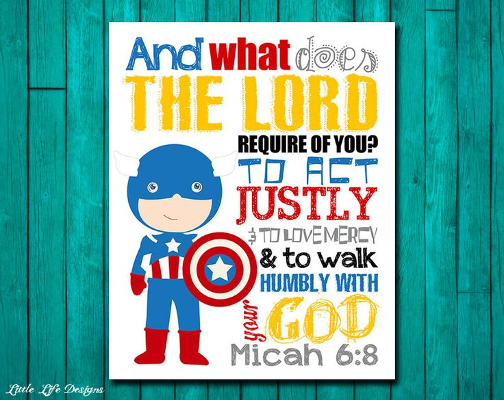 Seek Justice, Love Mercy, Walk Humbly. Micah 6:8. Superhero Wall Art. Superhero Boys Decor. Superhero Decor. Christian Bible Verse. Boy Room by LittleLifeDesigns on Etsy
