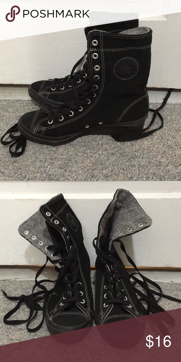 "Converse wedge sneakers Black Converse wedge sneakers. 1.5"" wedge heel. Converse Shoes Sneakers"