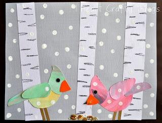 Maro's kindergarten: Winter Birds Art! Small paper...mini art