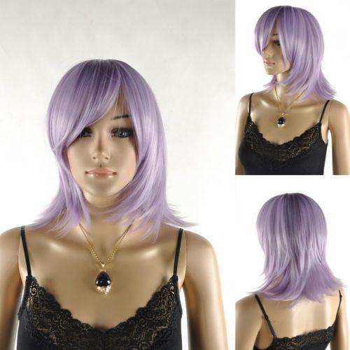 Womens-Pale-Purple-Straight-Shoulder-Length-Medium-Cosplay-Costume-Full-Wig