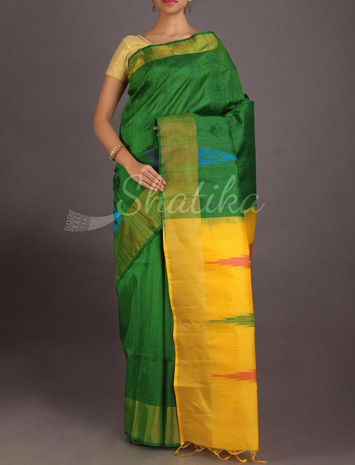 Surabhi Nature Fresh Green Contrast Pallu Pure #IkatSilkSaree